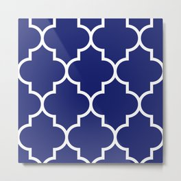 Navy Quatrefoil Design Modern Home Decor  Metal Print