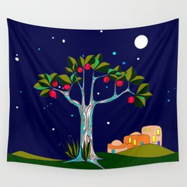 A Pomegranate Tree in Israel at Night, Harvest Wall Tapestry