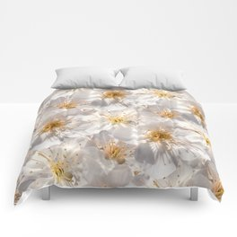 White Cherry Blossoms Pattern Comforters