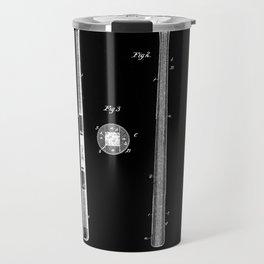 Baseball Bat Patent 1885 black and white Travel Mug