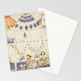 14th Century Mongol Prince Studying Koran Watercolor Painting Stationery Cards