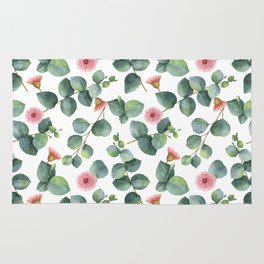 Eucaliptus and pink flowers pattern Rug