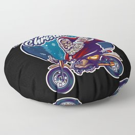 Merry Christmas santa clause on a small motorbike Floor Pillow