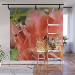 Prickly Pear Cactus Blossom with Visitor Wall Mural