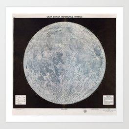 Vintage Lunar Moon Map, 1960s Art Print