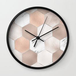 Rose pearl and marble hexagons Wall Clock