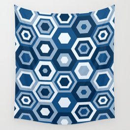 Classic Blue Hexas Wall Tapestry