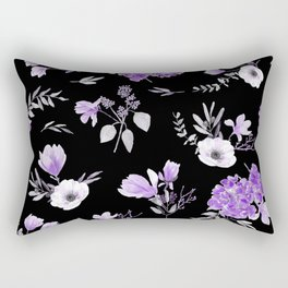 Lavender & Black Pattern Rectangular Pillow