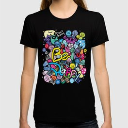 Be Happy doodle monster T-shirt
