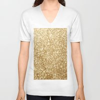 gold glitter V-neck T-shirts featuring Gold glitter by Masanori Kai
