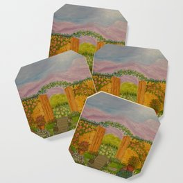Beyond The Gate Acrylic Painting by Rosie Foshee Coaster