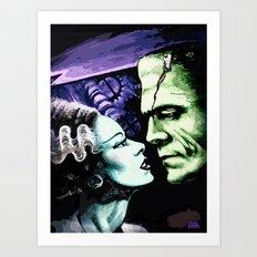 Bride of Frankenstein Monsters in Love Art Print