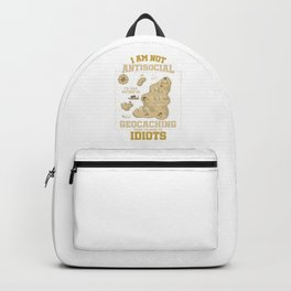I Am Not Anti-Social Funny Geocaching Geocachers GPs Location Trackers Navigational Gift Backpack