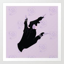 Black Hand Rose Pattern Art Print