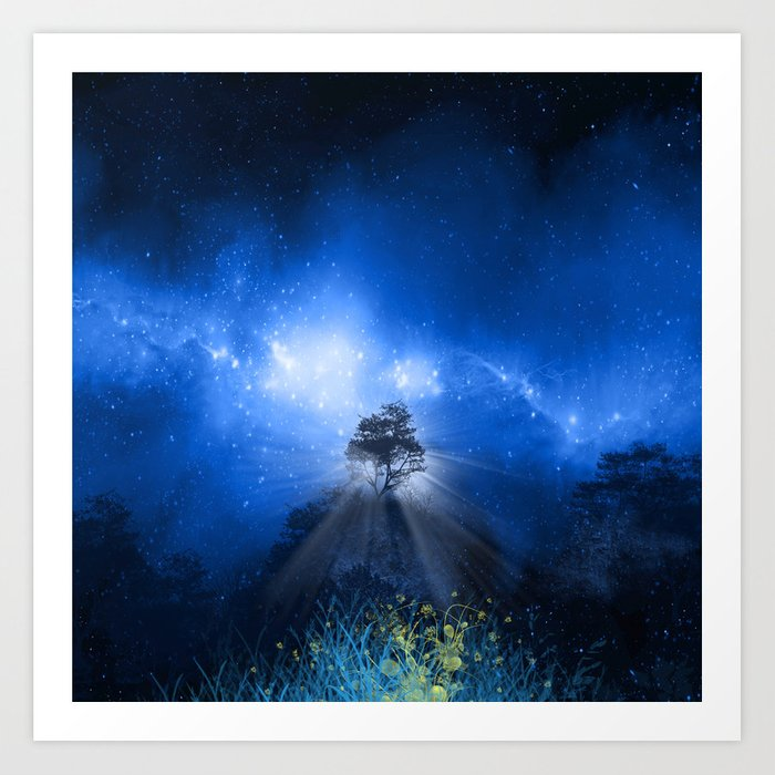 blue night landscape Art Print