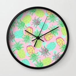 Pineapple Pandemonium Tropical Spring Wall Clock
