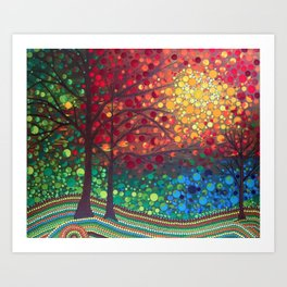 Winter sunset dot art by Mandalaole Art Print