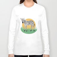 zebra Long Sleeve T-shirts featuring Zebra by Nir P