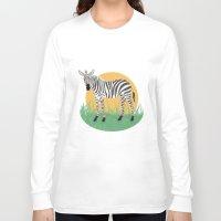 zebra Long Sleeve T-shirts featuring Zebra by Nir P