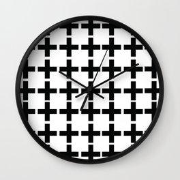 White Plus Black - Geometric illustration Wall Clock