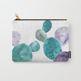Watercolor cactus bunch in turquoise and violet Carry-All Pouch
