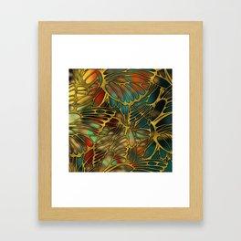 Golden Butterfly Wing Pattern Framed Art Print