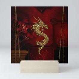Wonderful golden chinese dragon Mini Art Print