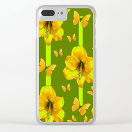 """GREEN AMARYLLIS """"FOR THE LOVE OF BUTTERFLIES"""" Clear iPhone Case"""