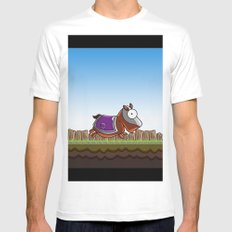 Joust It (Horsey) White Mens Fitted Tee MEDIUM