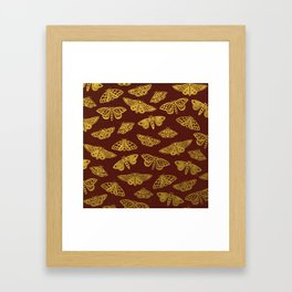 Golden Moths in Red Framed Art Print
