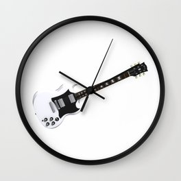 White Electric Guitar Wall Clock