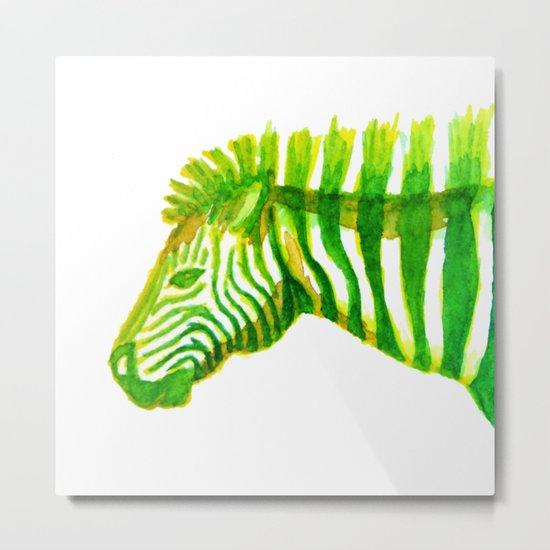 Zebra Watercolor Print Metal Print