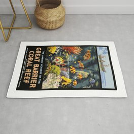 1933 Australia Great Barrier Coral Reef Travel Poster Rug