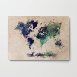 World Map splash raf Metal Print