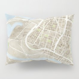Oakland California Watercolor Map Pillow Sham