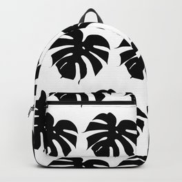 Black monstera silhouettes on white background. Tropical leaves. Backpack