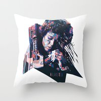 ripley Throw Pillows featuring Ellen Ripley : HARD ACTRESS by mergedvisible