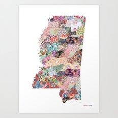 Mississippi map - Portrait Art Print