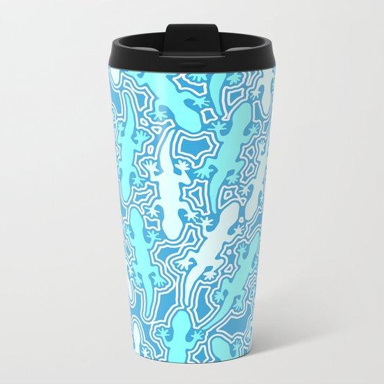 Lizards in teal blue Metal Travel Mug