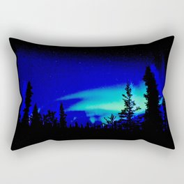 Aurora Borealis Forest Vibrant Rectangular Pillow