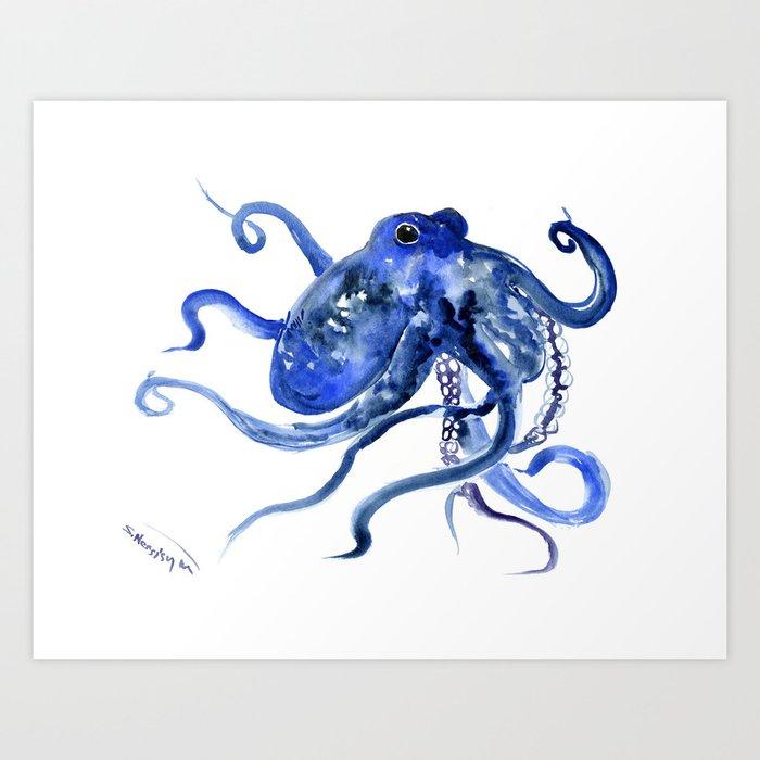 Octopus Design Blue Navy Blue Beach, cute ocotpus texture art Kunstdrucke