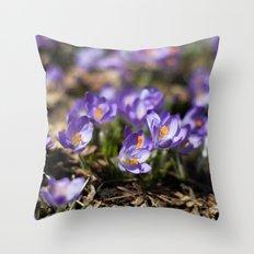 Purple Crocuses Throw Pillow
