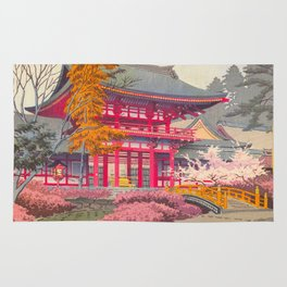 Japanese Woodblock Print Vintage Bright East Asian Red Pagoda Spring Garden Rug
