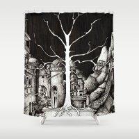 gondor Shower Curtains featuring The dark plague by Anca Chelaru