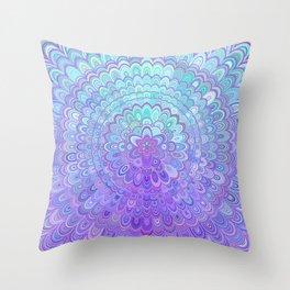 Mandala Flower in Light Blue and Purple Throw Pillow