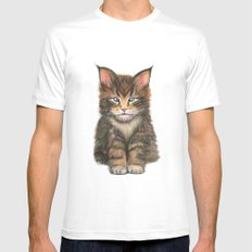 Little Kitten II White MEDIUM Mens Fitted Tee