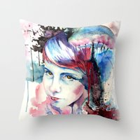 emily rickard Throw Pillows featuring Emily by Tony Unser