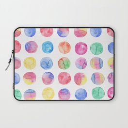 Artistic hand painted pink blue green watercolor brush strokes polka dots Laptop Sleeve