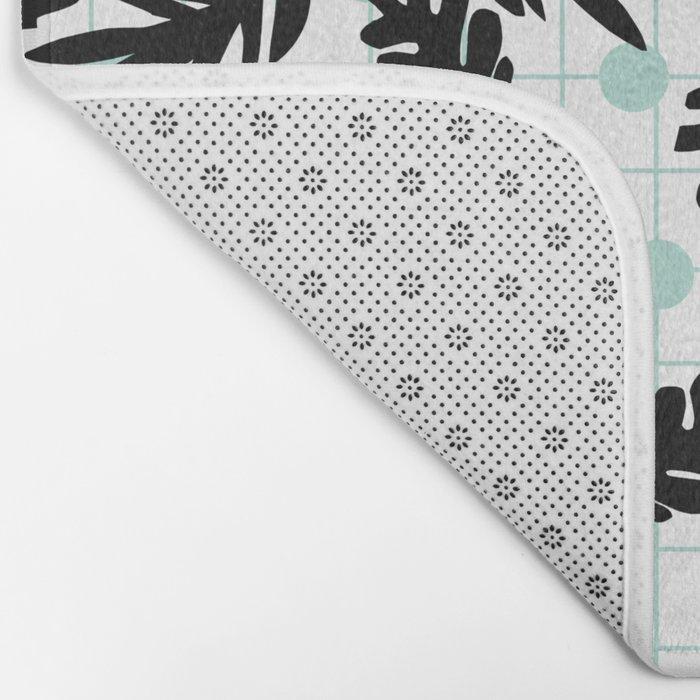 Dotty - black and mint modern pattern grid modern pattern print design urban brooklyn  Bath Mat
