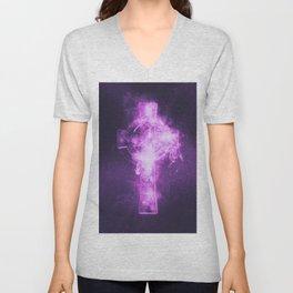 Celtic cross symbol. Abstract night sky background. Unisex V-Neck
